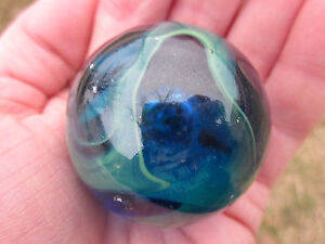 "TOE BREAKER 50mm (2"") SEA TURTLE clear Blue/Green Marbles glass ball HUGE Swirl"