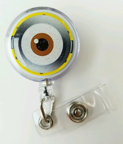 "MINIONS /""Eye/"" Retractable Badge Name Tag ID Holder Glitter 3D Epoxy Dome"