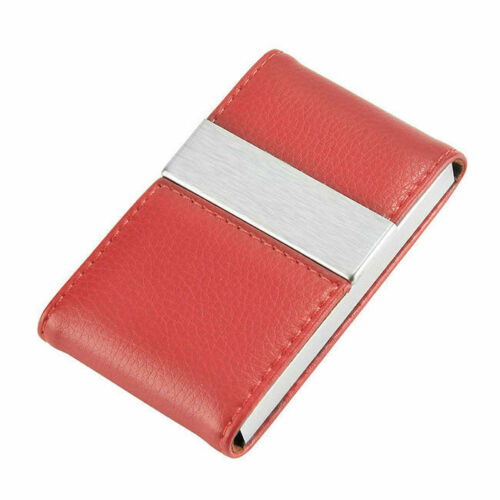 Business Card Holder PU Leather Stainless Steel Name Card Case Holder Lettering