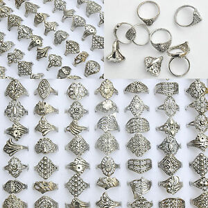 20Pcs-Lot-Wholesale-Rings-Jewelry-Costume-Mixed-Style-Tibet-Silver-Vintage-Rings