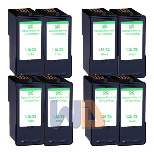 8 PK Lexmark 32 33 Ink Cartridge For X7170 X7350 X8350 P4330 P4350 P6210 Printer