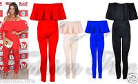 Women Ladies Celeb Inspired Frill Off Shoulder Jumpsuit Playsuit UK Size 8 -14