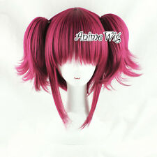 Black Butler Mey Rin Maylene Wine Red Short Anime Cosplay Wig + 2 Ponytails