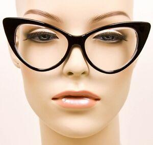 b2405c7290 SEXY Cat Eye Glossy Black Pin Up Fashion Clear Eye Glasses Hot Diva ...