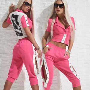By-Alina-Mexton-2-Teiler-Damenjacke-Caprihose-Knopfhose-Hose-Blazer-Pink-XS-M