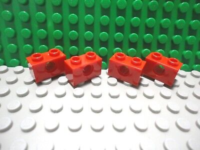 Lego 4 Red technic 1x2 beam brick with axle hole NEW