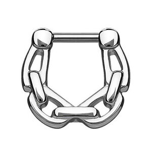 Septum Piercing Clicker Ketten Style Chirurgenstahl silbern