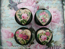 SHABBY ROSES & CHIC HEARTS, 4 BLACK CUPBOARD DRAWER, FLOWER KNOBS HANDLES WOODEN