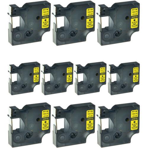 "10PK Black//Yellow label tape ½"" x 23' standard For DYMO D1 45018 12mm x7m A45018"