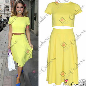 Womens-Two-Piece-Crop-Top-and-Pleated-Midi-Skirt-Ladies-Summer-Dress-Party-Set