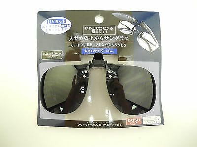 Daiso Japan Clip on Flip up Sunglasses Smoke Lens Big Size 100% UV