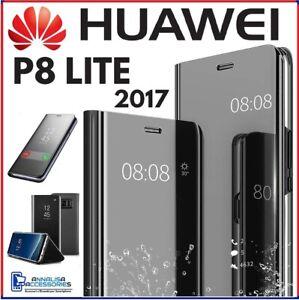 COVER FLIP PER HUAWEI P8 LITE 2017 CUSTODIA LIBRO NERA SPECCHIO ...
