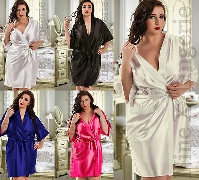 Nine X Satin Dressing Gown Plus Size 8-26 S-7xl Bridesmaid Robe Exquisite Handwerkskunst;