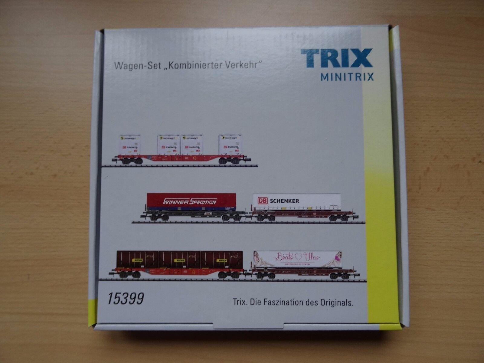Trix n Art 15399 5 piezas de wagenset   transportes combinados - . artículo nuevo en el embalaje original
