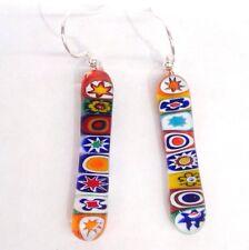 Sterling Silver & Murano Glass Millefiori Earrings - Random Multicoloured Drop