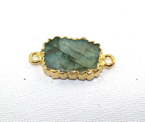 Natural Rainbow Fire Labradorite Gemstone Gold Electroplated Connector DIY