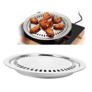 Indoor outdoor bbq smokeless stovetop grill non stick roasting pan round grill ebay - Barbacoa de interior sin humo ...