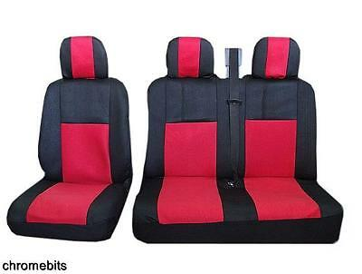 RED BLACK FABRIC SEAT COVERS 2+1 FOR RENAULT TRAFIC MASTER