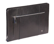 Real Leather Folio BLACK Bag Tablet A4 Document Underarm Bailiff zip Around Bag