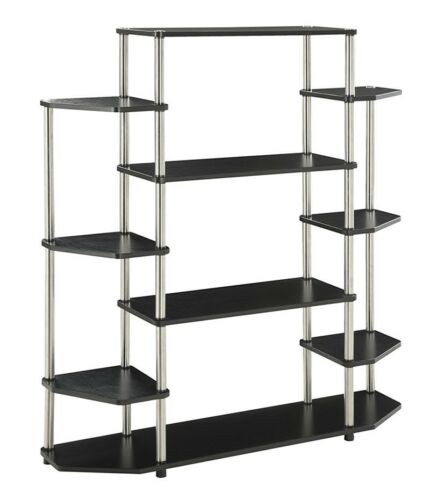 Tall Bookcase Large Open Bookshelf Modern Decor 10 Shelf Display Black Book NEW