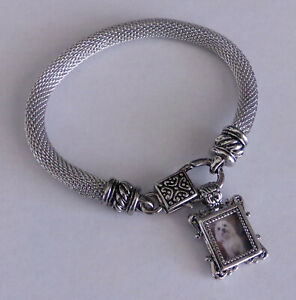 Silver-Charm-Bracelet-w-Miniature-Picture-Frame-Filigree-Detail-Lobster-Clasp