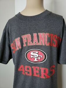 Team-Apparel-NFL-San-Francisco-49ERS-Men-039-s-T-Shirt-Gray-Red-Size-Small-Football