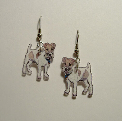Jack Russell Terrier Dog with Bone Earrings Handcrafted Plastic Made in USA