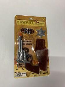 1 TOY Cowboy Gun Pistol  Plastic WILD WEST Play set BADGE BELT AND HOLSTER