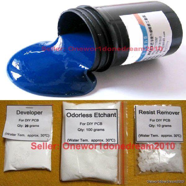 Photoresist Blue Paint Developer Etchant Resist Remover for DIY PCB Kit
