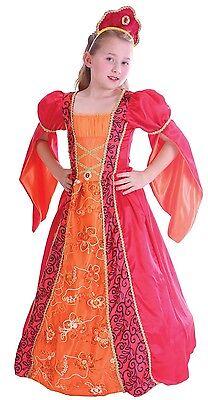 100% Vero Ragazze Rosso Deluxe Medievale Tudor Princess Regina Costume Vestito 4-12yr-mostra Il Titolo Originale