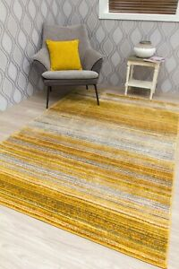 Large Small Gold Ochre Rug Mat Living Room Floor Carpet Faded Distressed Hallway Ebay