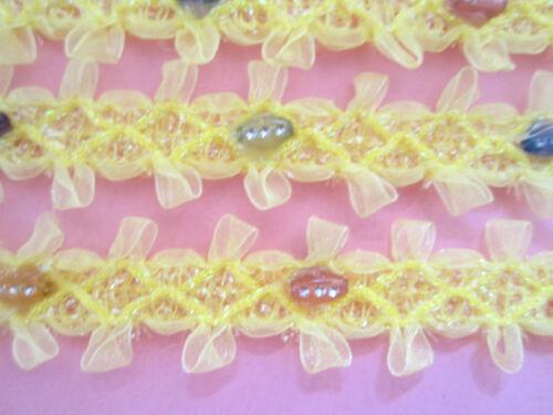 2 METER Borte Spitze Nichtelastisch Gelb 2,cm elegante top mode