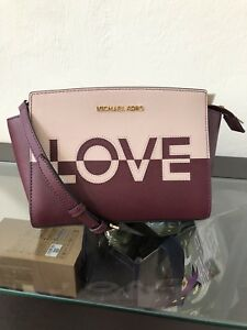 4d6a3e95d1f8 Image is loading Michael-Kors-Selma-Medium-Messenger-Love-Print-Leather-