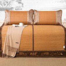 Aimjerry 3pcs Rattan Mattress Topper Pad Cooling Summer Sleeping Mat and Pillow Shams Sets Queen, Brown 2