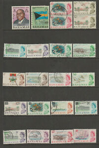 BAHAMAS VINTAGE STAMP COLLECTION OVER 280 USED, FISH FLOWERS FLAG, RED CROSS