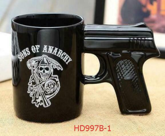 2018 Novel Ceramic Mug sons of anarchy Pistol 14 oz Coffee Cup Glaze Skull Mugs
