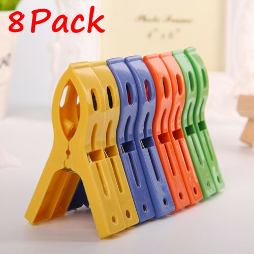 8Pack Plastic Laundry Clothes Beach Towel Pins Hangers Spring Clamp Large Clip