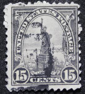 Sello 15 Centavos USA Año 1922 Estatua de la Libertad, Scott 566.