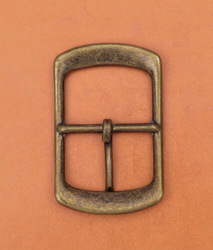 Antique Brass Center Bar Belt Buckle for Leather Belt Replacement Fit 40mm Strap