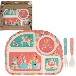 Fairy-Princesse-Enfants-Bambou-Eco-responsable-Diner-Repas-Set-Plaque-Fourche