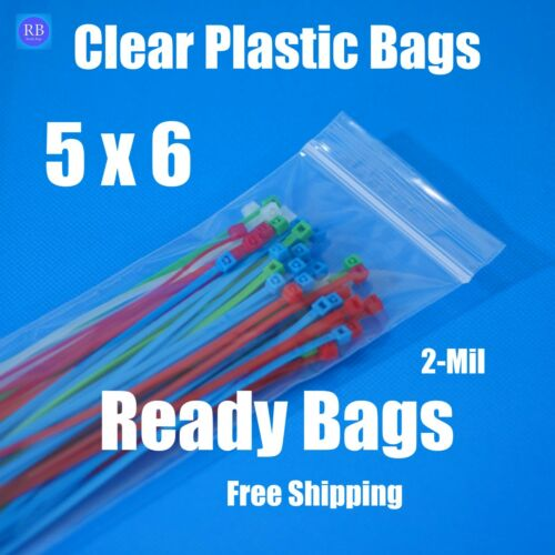 """Details about  /5x6/"""" Zip Lock Reclosable Bags Clear Plastic 2Mil Zipper Seal Top Jewelry Baggies"""