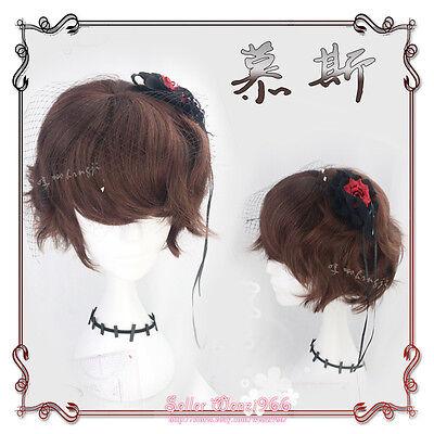 Japanese Harajuku Vintage Gothic Lolita Brown Curly Men Short Cosplay Daily Wig