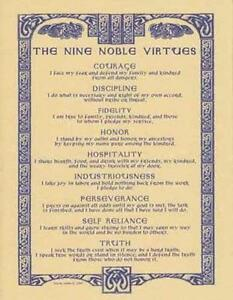 NINE-NOBLE-VIRTUES-Parchment-Page-for-Book-of-Shadows-Altar