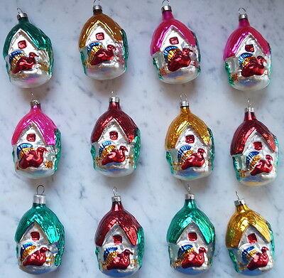 12 Stück Glasornamente Haus mit Truthahn ~ 1960  (# 6463)