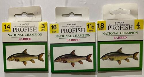 THREE packets of six NATIONAL CHAMPION VMC HOOKS TO NYLON for only £3.09
