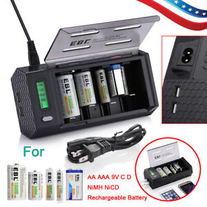 Universal-4-Bay-AA-AAA-9V-C-D-NiMH-NiCD-LCD-Smart-Battery-Charger-w-2-USB-Port
