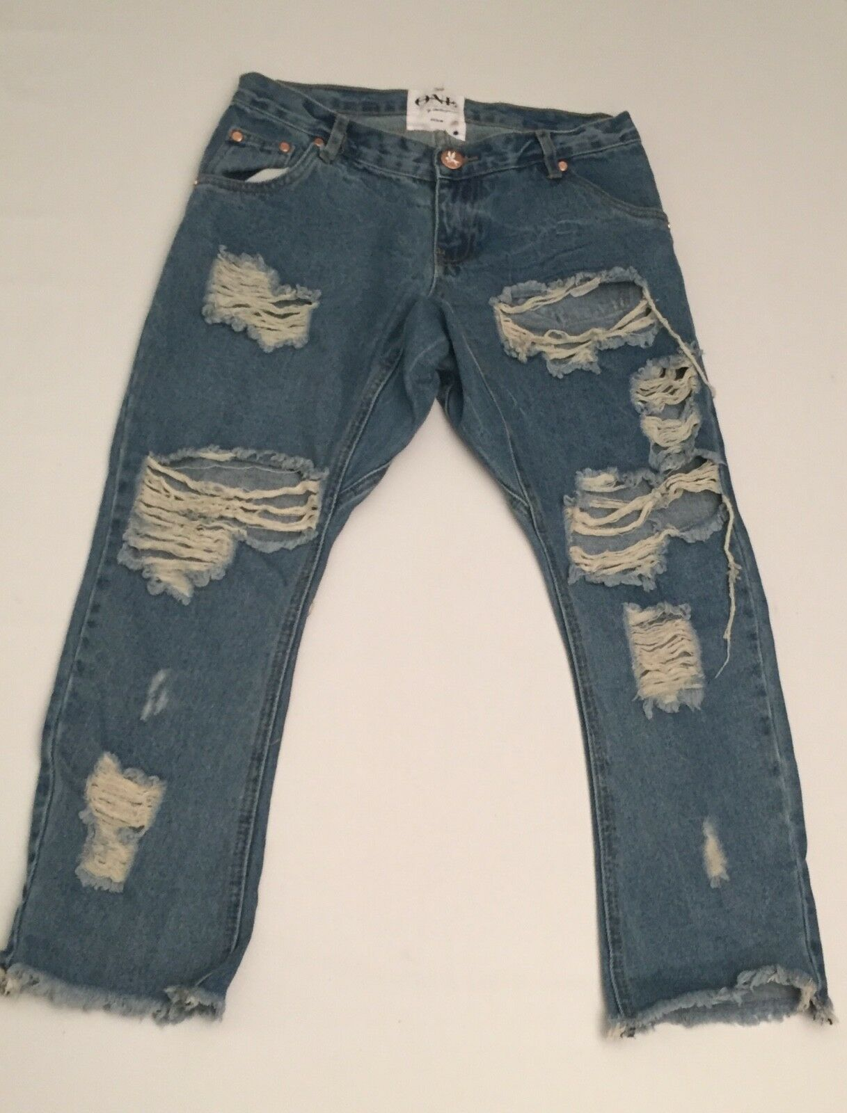 ONE by One Teaspoon Destroyed Boyfriend Lonely Boy bluee Denim Jeans Sz 24 27