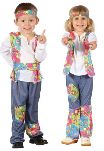 Boys Girls Toddler 1960s 1970s Hippy Hippie Fancy Dress Costume Outfit 2-3 years