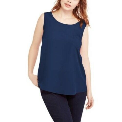 652137da2f9 Faded Glory Woven Tank Curved Hem One Pocket Plus Size 4x Navy for sale  online