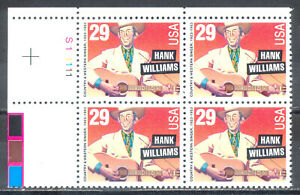 US-Stamp-L188-Scott-2723-Mint-NH-OG-Nice-Plate-Block-Hank-Williams